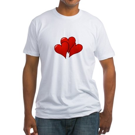 Three Hearts Fitted T-Shirt