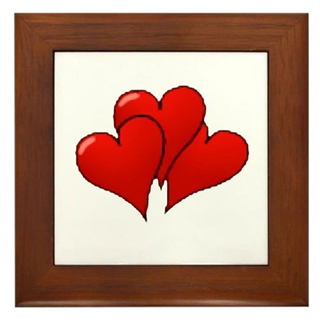 Three Hearts Framed Tile