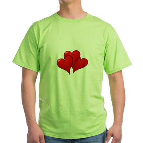 Three Hearts Green T-Shirt