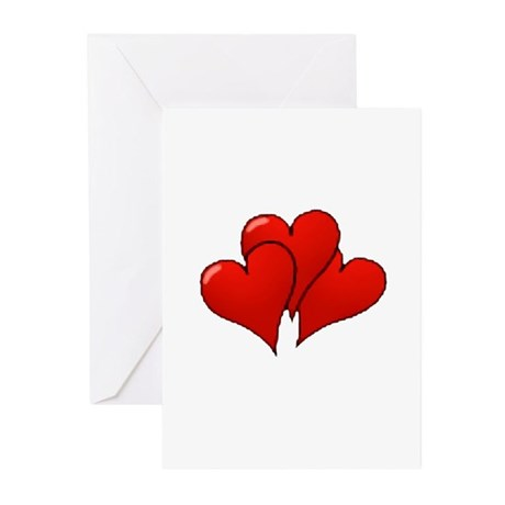 Three Hearts Greeting Cards (Pk of 10)