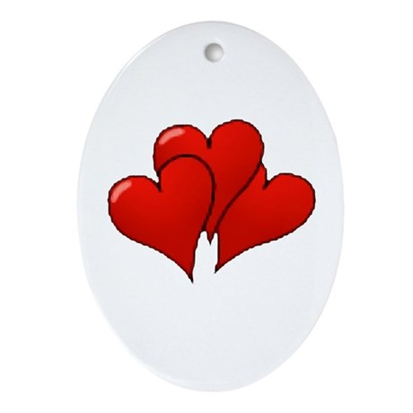 Three Hearts Oval Ornament