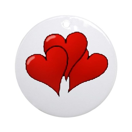 Three Hearts Ornament (Round)