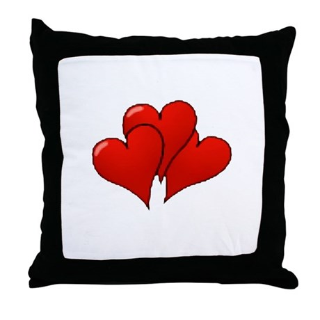 Three Hearts Throw Pillow