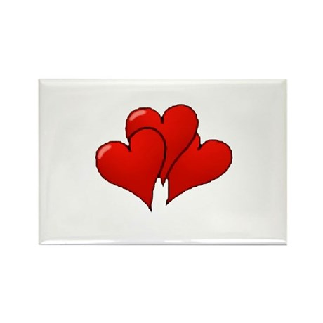 Three Hearts Rectangle Magnet (10 pack)