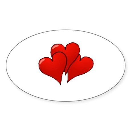 Three Hearts Oval Sticker