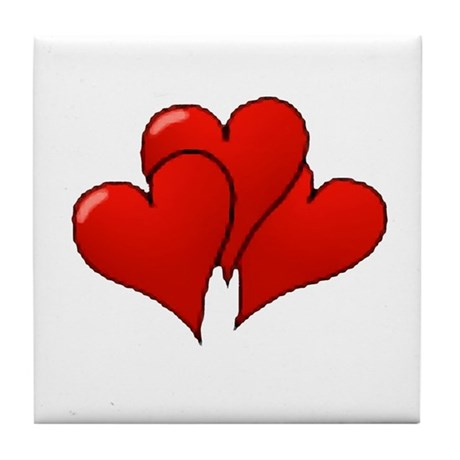 Three Hearts Tile Coaster
