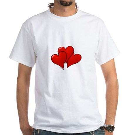 Three Hearts White T-Shirt