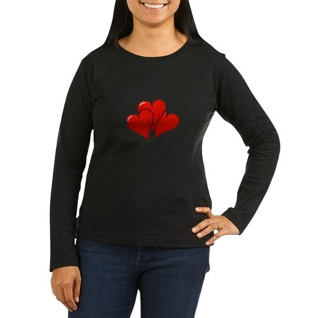 Three Hearts Women's Long Sleeve Dark T-Shirt