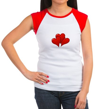 Three Hearts Women's Cap Sleeve T-Shirt