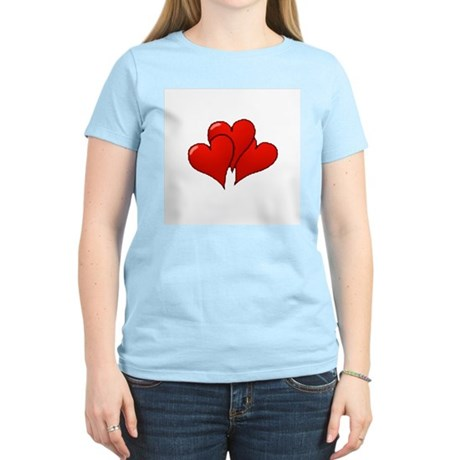 Three Hearts Women's Pink T-Shirt