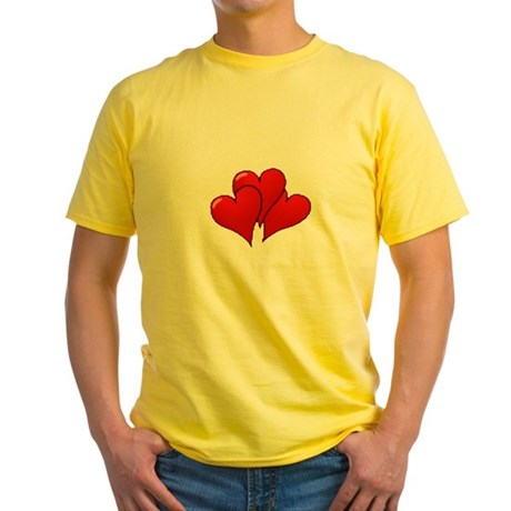 Three Hearts Yellow T-Shirt