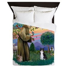 St Francis (ff) - Black and white cat Queen Duvet