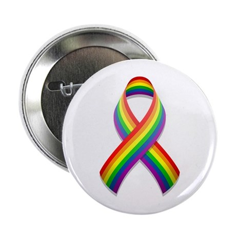 Rainbow Pride Ribbon Button