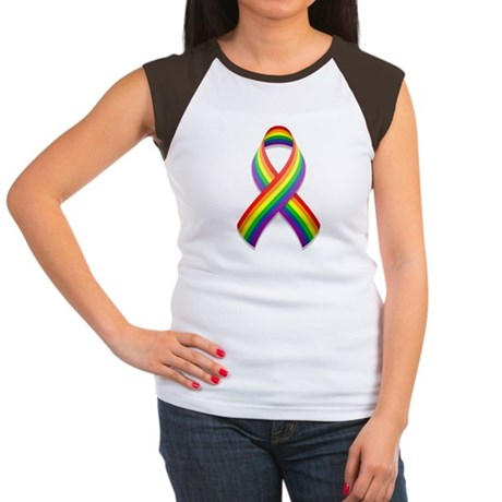 Rainbow Pride Ribbon Women's Cap Sleeve T-Shirt