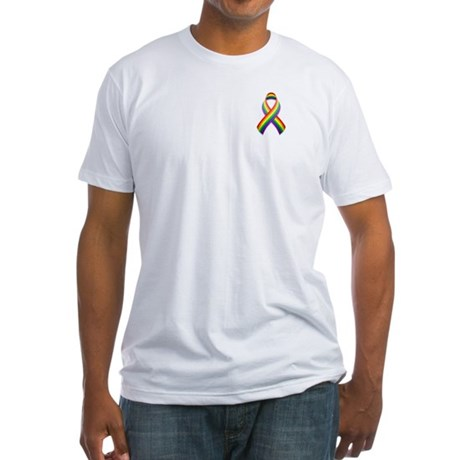 Rainbow Pride Ribbon Fitted T-Shirt