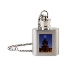Tortugas, New Mexico, Church decora Flask Necklace