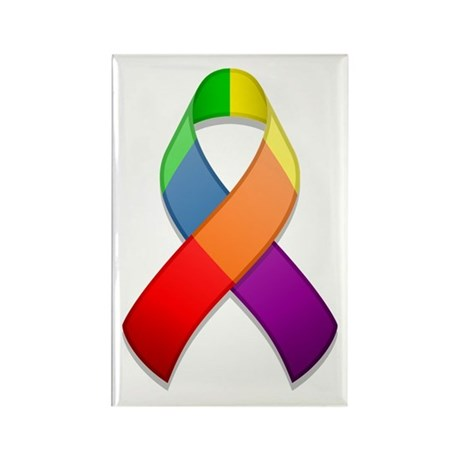 Rainbow Pride II Ribbon Rectangle Magnet (100 pack