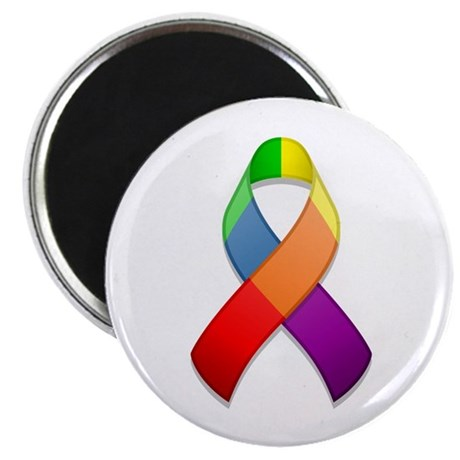 "Rainbow Pride II Ribbon 2.25"" Magnet (10 pack)"