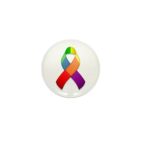 Rainbow Pride II Ribbon Mini Button