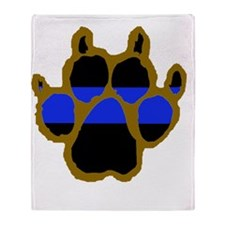 Brown Thin Blue Line Paw Enforcement Throw Blanket