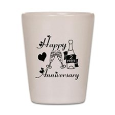 Anniversary black and white 2 Shot Glass