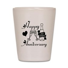 Anniversary black and white 20 Shot Glass
