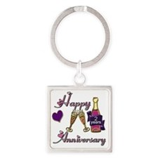 Anniversary pink and purple 2 Square Keychain