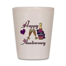 Anniversary pink and purple 10 Shot Glass