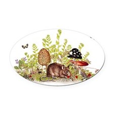 Woodland Mouse - Fabric Pattern 5 Oval Car Magnet