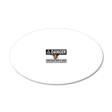 Doggie Danger 20x12 Oval Wall Decal
