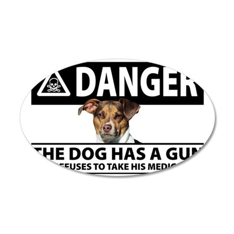 Doggie Danger 35x21 Oval Wall Decal