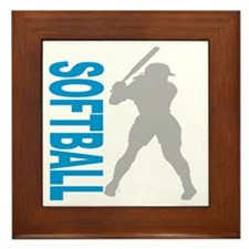 2-play softball bb(blk) Framed Tile