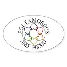Poly and Proud circle logo Oval Decal