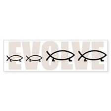 Evolve Fish Family (4) Bumper Bumper Sticker