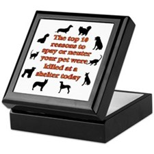 10 reasons to spay_white Keepsake Box