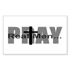 Real Men Pray Rectangle Decal