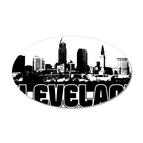 Cleveland Skyline 35x21 Oval Wall Decal