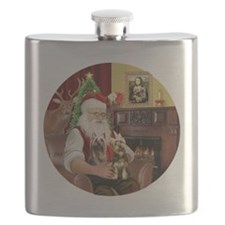 (R) Santa - Silky Terriers (TWO) Flask