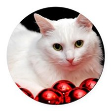 xmas_cat_rnd Round Car Magnet