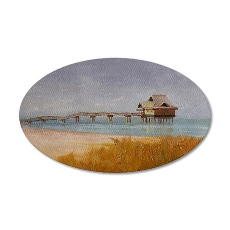 Florida Pier 60 35x21 Oval Wall Decal