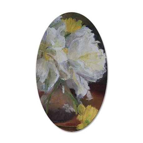 White Floral 35x21 Oval Wall Decal