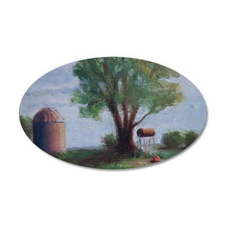 Silo and Tree 35x21 Oval Wall Decal