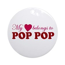 Heart Belongs to Pop pop Ornament (Round)