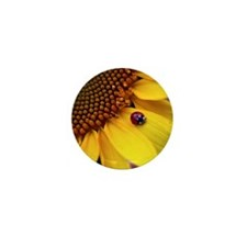 Ladybug on Sunflower Petal Mini Button
