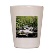 Smokey Mountains river and dogwoods Shot Glass