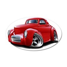 1941 Willys Red Car Wall Decal