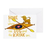 Kayak and dog Greeting Cards
