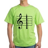 Oboe on Treble Clef Staff, Bright T-Shirt