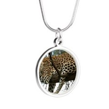 Leo Tree panel print Silver Round Necklace