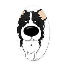 BorderCollieShirtFront Oval Car Magnet